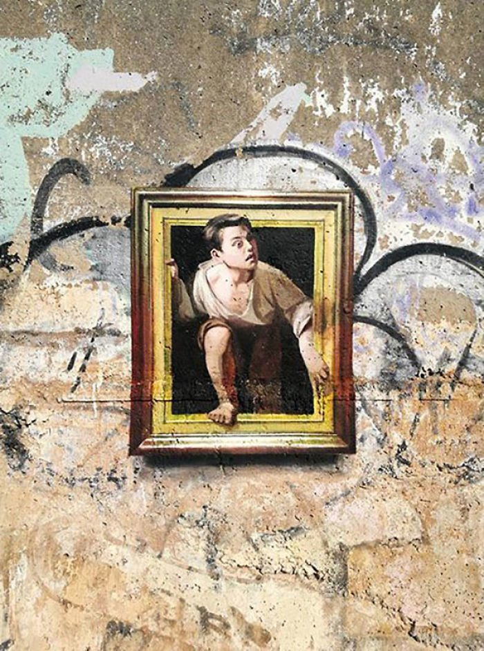 Художник воссоздает мировые шедевры живописи копии, оптическая иллюзия, стрит-арт, стритарт, уличное искусство, уличный художник, шедевры