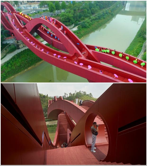 Замысловатые переплетения и цвет конструкции сделали мост Changsha Lucky Knot настоящей достопримечательностью (Чанша, Китай).