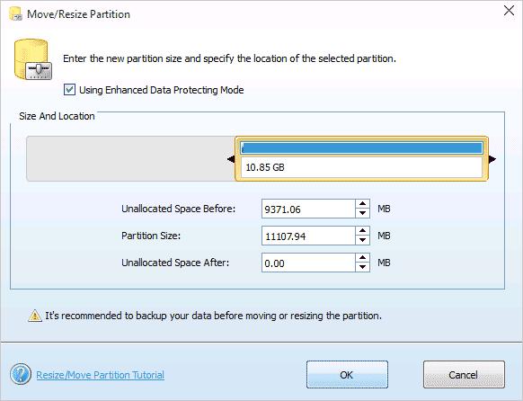 Регулирование добавляемого пространство на дисках происходит тем же простым способом
