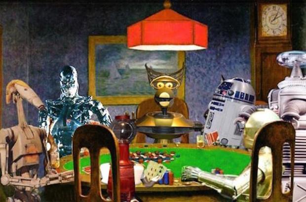 Коллаж из роботов за столом для покера