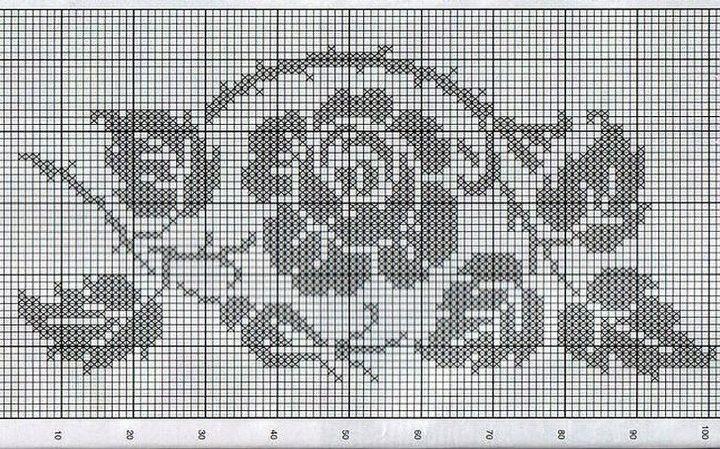 Схема рисунка к тунике в стиле бохо филейным вязанием крючком