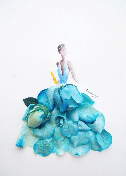Рисунки из цветов и акварели от Лимзи. Фото