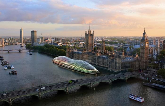 Временное здание «Floating the UK Parliament».