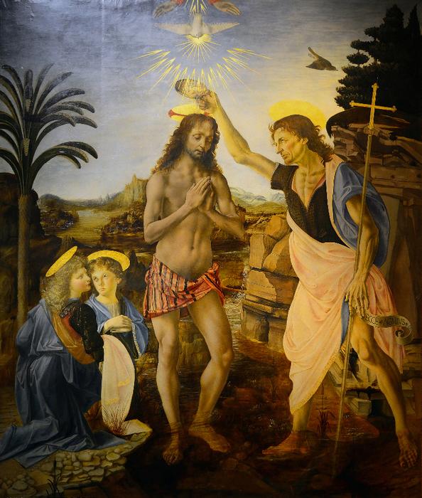 1475 Андреа дель Верроккьо (1435-1488) и Леонардо да Винчи. Крещение Христа. 1472-1475, дерево, масло, 177х151 см. Галерея Уффици (594x700, 619Kb)