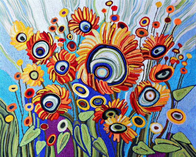 Картинки ниткография цветы