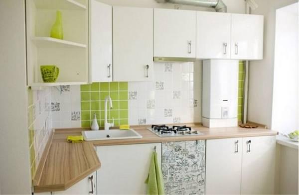 дизайн маленькой кухни с газовой колонкой, фото 38