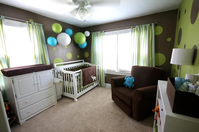 сочетание зеленого и коричневого цвета в интерьере детской