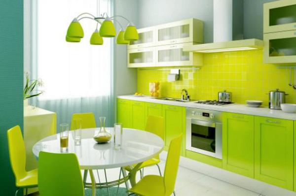 Живая кухня в зелёных тонах