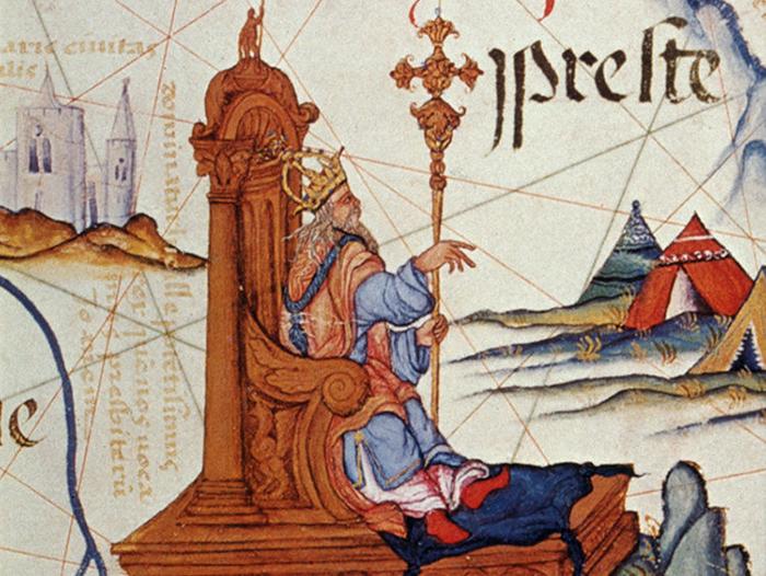 Иллюстрация пресвитера Иоанна на карте Восточной Африки.