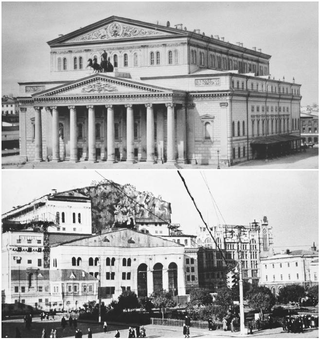 Большой театр в мирное время и после маскировки. | Фото: can-you-help.me/ pastvu.com.