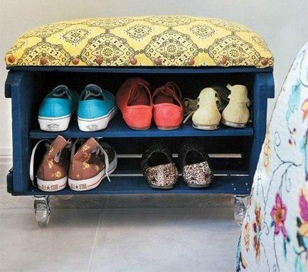 Подставка для обуви с пуфиком своими руками 1