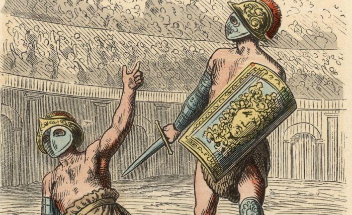 Палец вверх Большинство гладиаторских школ предпочитали видеть питомцев живыми и здоровыми, а не пропитывающими кровью песок на радость публике. Конечно, ведь так они сохраняли свои инвестиции! Так что, вопреки распространенному мнению, гладиаторские схватки не всегда велись на смерть. Большинство историков полагает, что лишь каждый пятый находил свой конец в бою. Но, конечно, это не касалось боев в Колизее: тут все решал император.