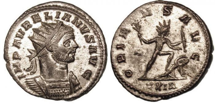 """Аврелиан учредил совет жрецов и получил титул """"господин бог"""", увенчав себя короной с солнечными лучами. На медалях чеканили надпись """"Солнце - властитель римской империи"""""""