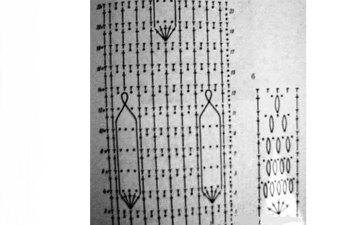 Схема к тунике в стиле бохо филейным вязанием крючком