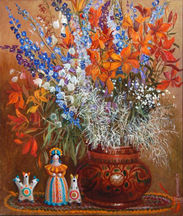 Широкова И.А. Букет с лилиями. 1999г.