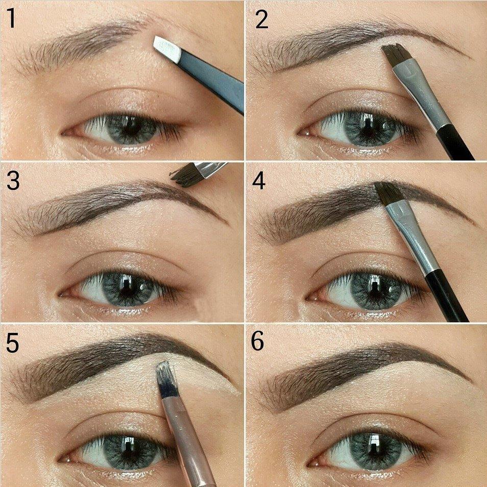 Как кистью рисовать брови