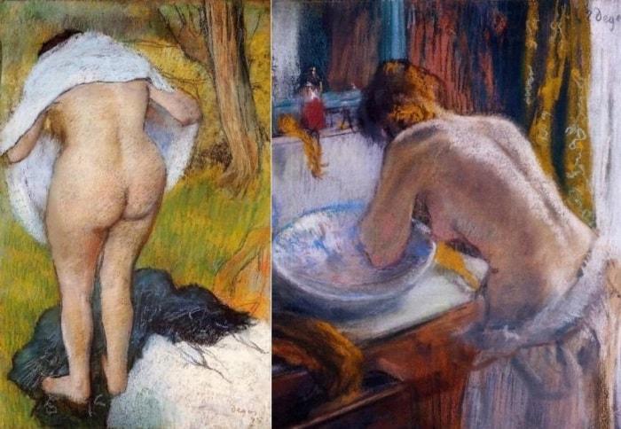 Эдгар Дега. Слева – *Вытирающаяся девушка*, 1885. Справа – *Утренний туалет*, 1884-1886 | Фото: artcontext.info