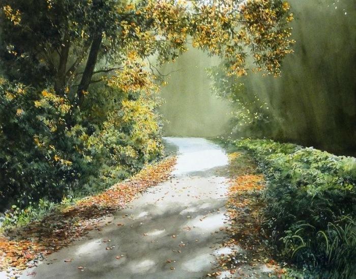 Дорога, залитая солнцем. Автор: Abe Toshiyuki.