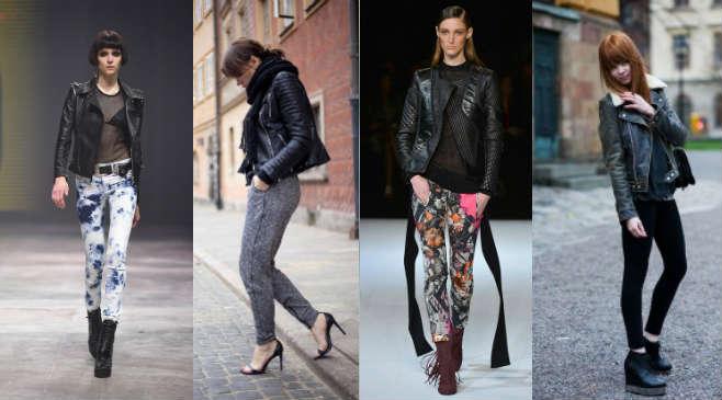 Сочетание кожаной куртки с брюками и легинсами