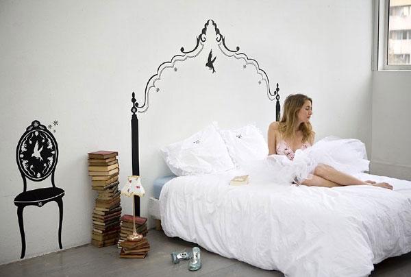 Нарисовать изголовье кровати на стене