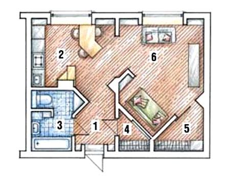 Однокомнатная квартира после перепланировки (студия)