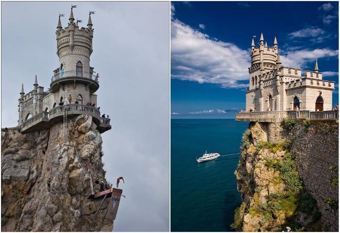 Самый узнаваемый символ Крыма приобрел свои очертания в 1912 г («Ласточкино гнездо», Гаспра). | Фото: pinterest.com/ ladycrystal.net.
