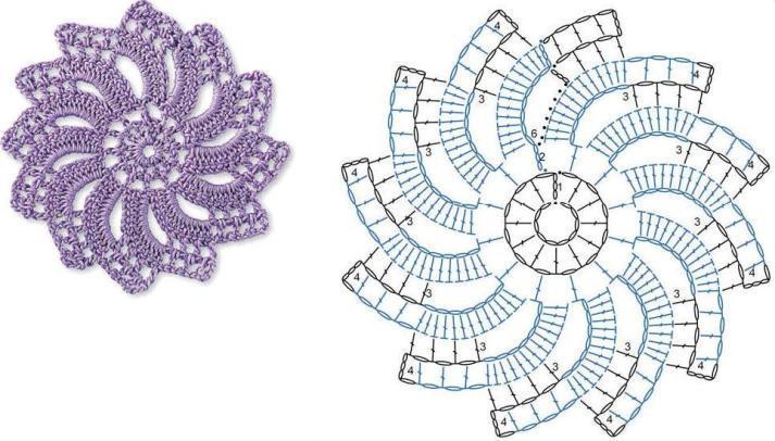 Схема к скатерти крючком из мотивов