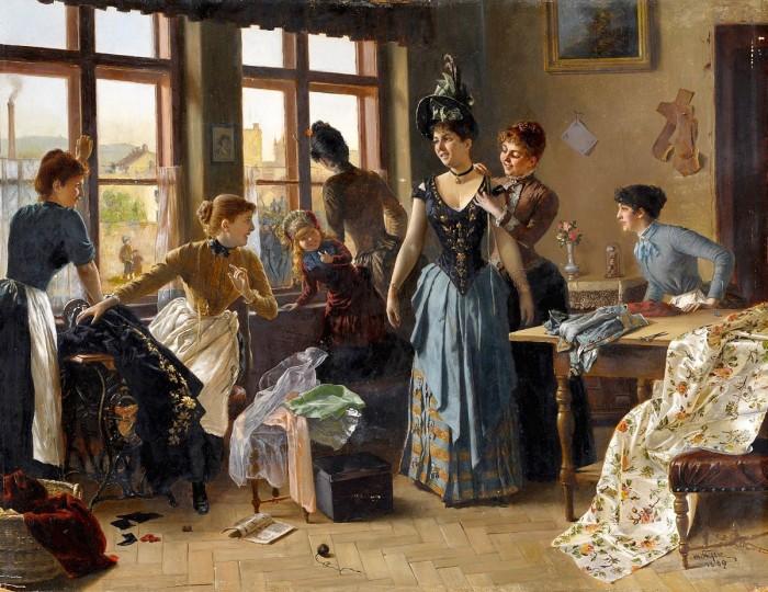 К концу века корсет «выходит в массы», перестает быть признаком парадных одеяний знати, но становится и частью повседневной одежды