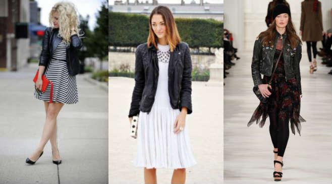 Сочетание кожаной куртки с платьями и туниками