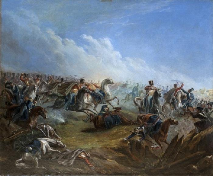 Атака лейб-гвардии гусар под Варшавой 26 августа 1831 года. Масло. (1837 год). Автор: Михаил Лермонтов.