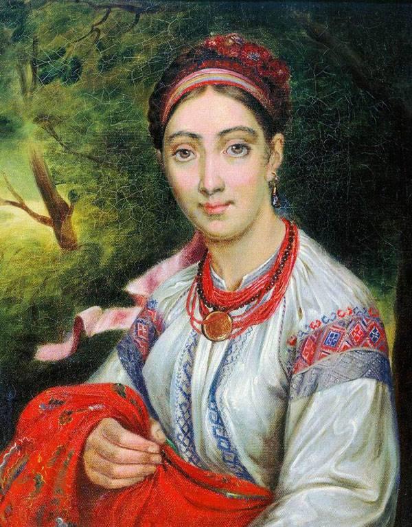 Девушка-украинка в пейзаже