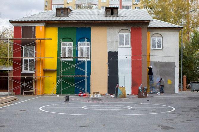 Украшение школьного двора в Тюмени