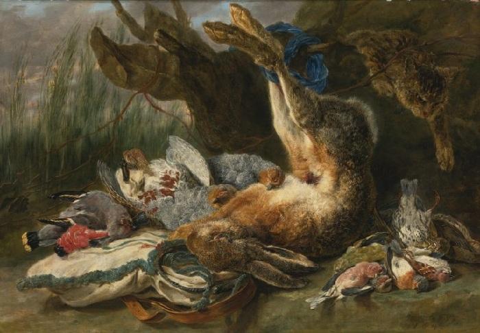 «Натюрморт с зайцем, дичью и котом». (1644). Холст, масло. 60.3х87.7см  Автор: Ян Фейт.