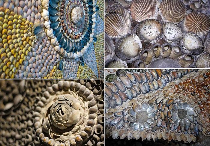 Различной формы, размеров и фактуры использовались морские раковины для украшения храма.
