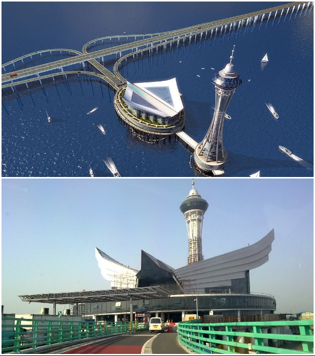 Посередине Hangzhou Bridge создан искусственный остров для отдыха с ресторанами, гостиницами, парком и смотровыми площадками (Китай).