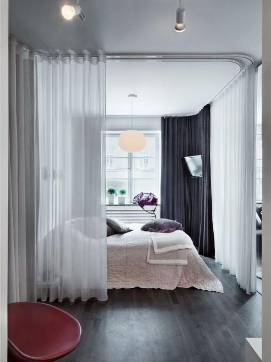 как разделить комнату с помощью штор фото