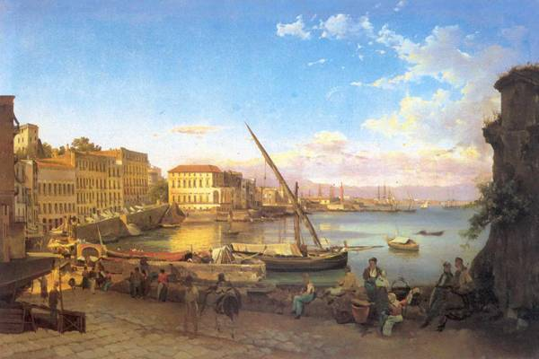 Набережная Сайта Лючия в Неаполе. 1820-е.
