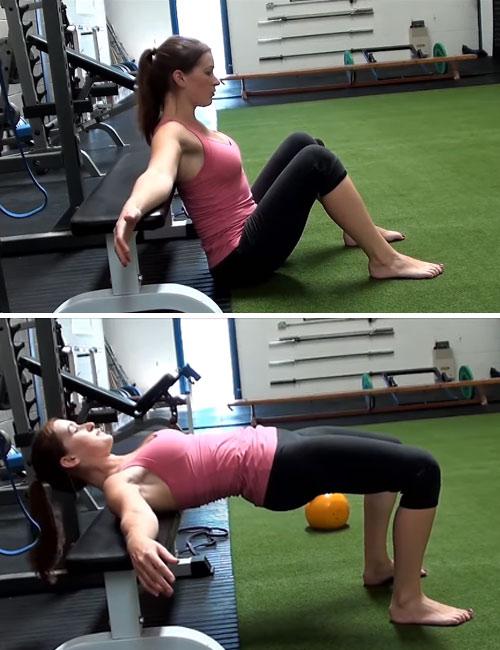подъем таза со скамьи для укрепления мышц спины