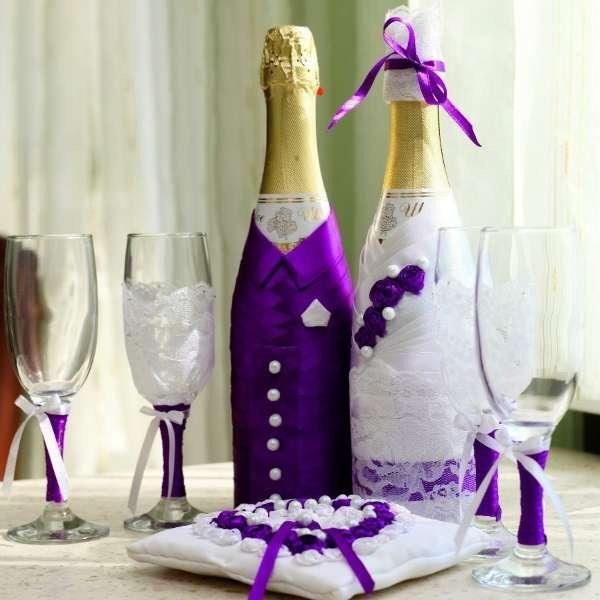 Декорирование бутылок шампанского на свадьбу - жених и невеста