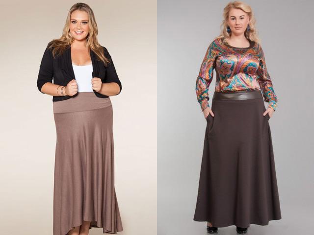 Модные юбки макси осень-зима 2016-2017 для полных девушек