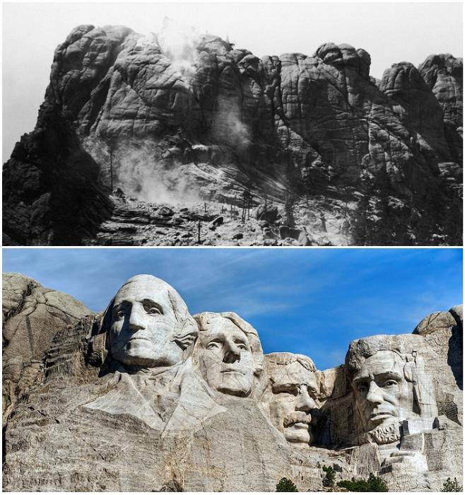 За 14 лет древняя святыня индейцев дакота превратилась в Национальный Мемориал под названием «Гора Рашмор» (США). | Фото: geographyofrussia.com/ maximonline.ru.