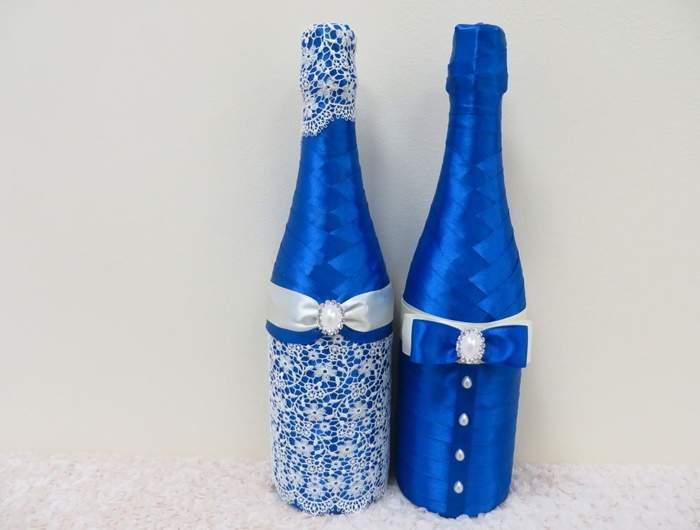 Украшение бутылок лентами на свадьбу и по другому поводу