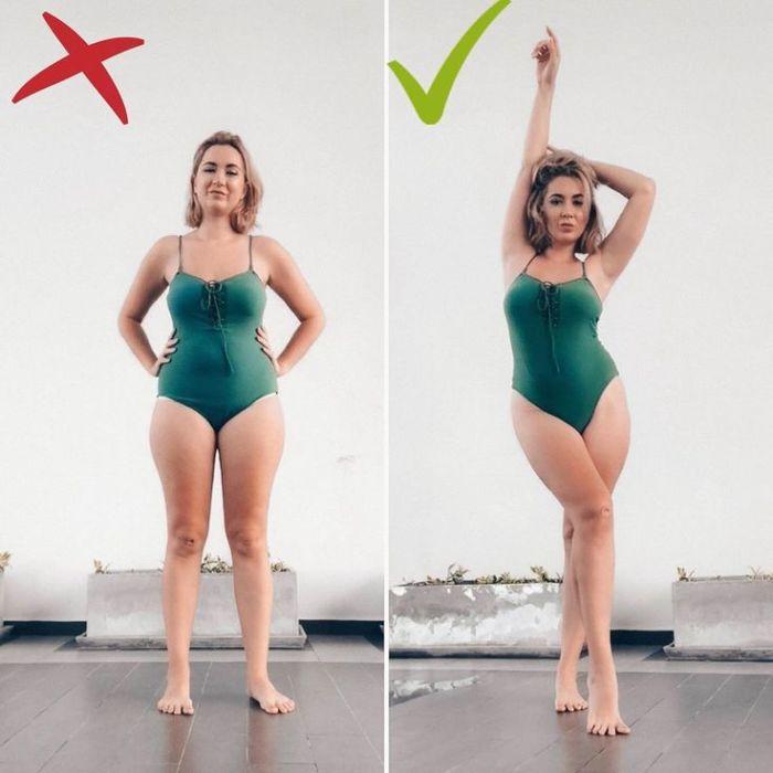 Если поднять руки вверх и выставить вперед ногу, получится сделать фигуру стройнее. / Фото: pinterest.co.uk
