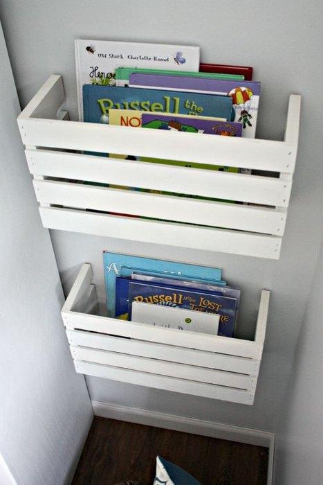 Идея №17. Для хранения книг можно использовать старые деревянные ящики