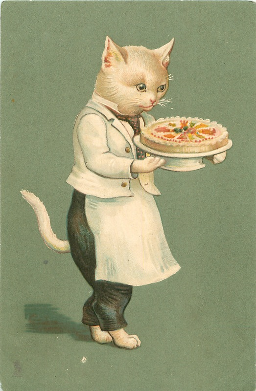 Кошка старые открытки, попой