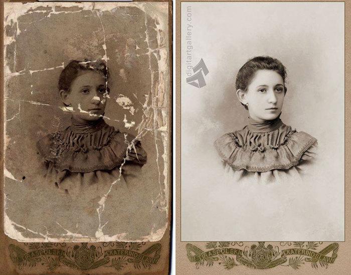 На фотографии удалось восстановить всё до мелочей: взгляд, причёску и даже складки ткани.