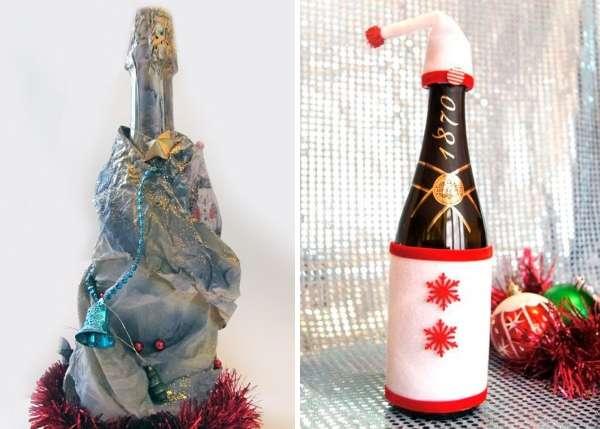 Как украсить бутылку шампанского к Новому году
