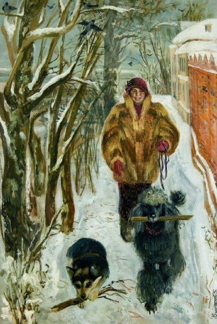 Широкова Инна. Автопортрет с собаками. 2006г.