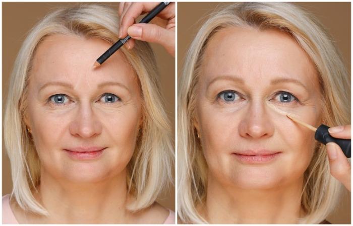 Антивозрастной макияж предполагает использования консилера для маскировки морщин