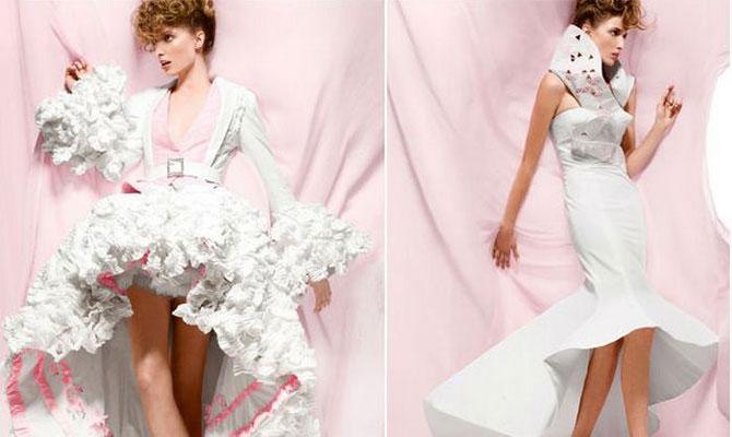 Канадские дизайнеры представили коллекцию платьев из туалетной бумаги